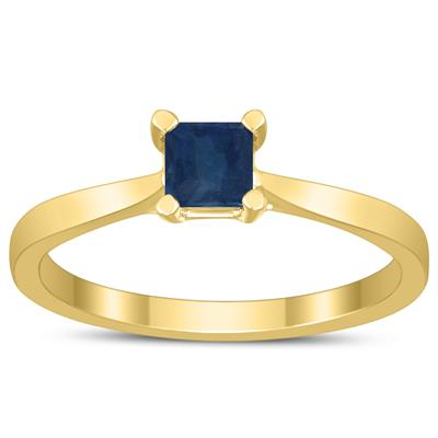 Square Princess Cut 4MM Sapphire Solitaire Ring in 10K Yellow Gold