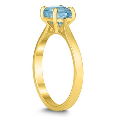 Square Princess Cut 6MM Aquamarine Solitaire Ring in 10K Yellow Gold