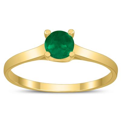 Round 4MM Emerald Cathedral Solitaire Ring in 10K Yellow Gold