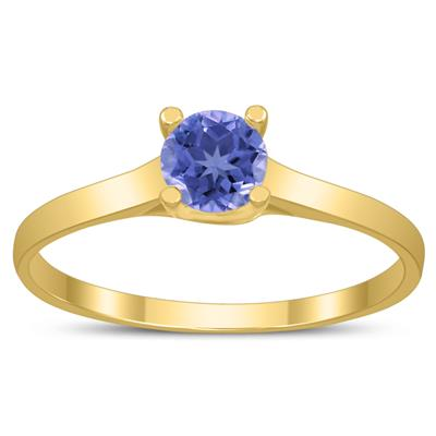 Round 4MM Tanzanite Cathedral Solitaire Ring in 10K Yellow Gold