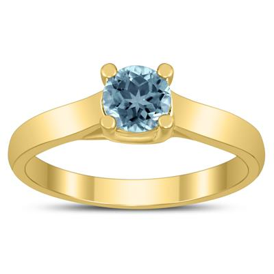 Round 5MM Aquamarine Cathedral Solitaire Ring in 10K Yellow Gold
