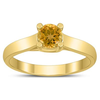Round 5MM Citrine Cathedral Solitaire Ring in 10K Yellow Gold