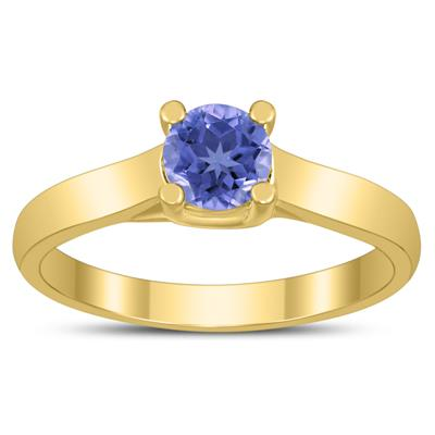 Round 5MM Tanzanite Cathedral Solitaire Ring in 10K Yellow Gold