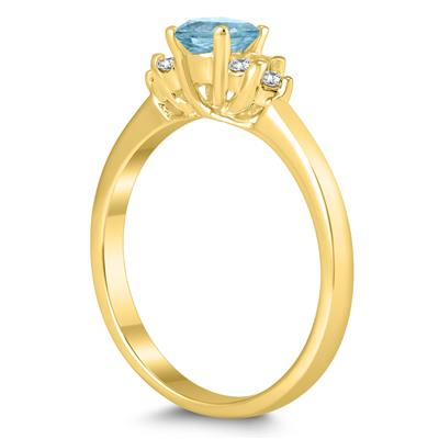 4MM Aquamarine and Diamond Cynthia Ring in 10K Yellow Gold