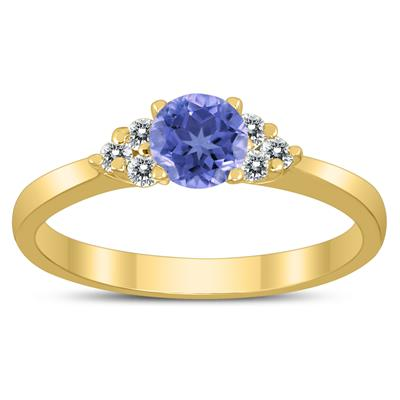 4MM Tanzanite and Diamond Cynthia Ring in 10K Yellow Gold