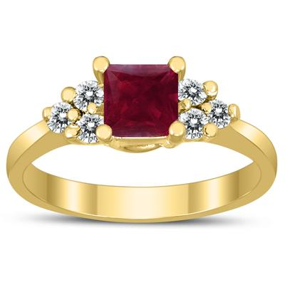 Princess Cut 5X5MM Ruby and Diamond Duchess Ring in 10K Yellow Gold