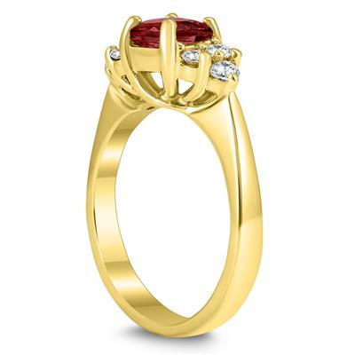 Princess Cut 6X6MM Garnet and Diamond Duchess Ring in 10K Yellow Gold