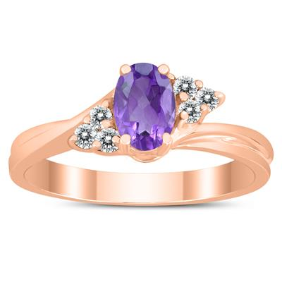 6X4MM Amethyst and Diamond Twist Ring in 10K Rose Gold
