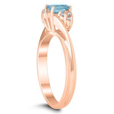 6X4MM Aquamarine and Diamond Twist Ring in 10K Rose Gold
