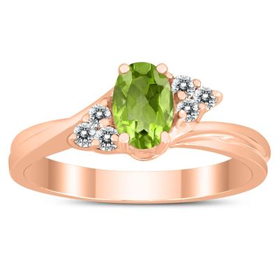 6X4MM Peridot and Diamond Twist Ring in 10K Rose Gold