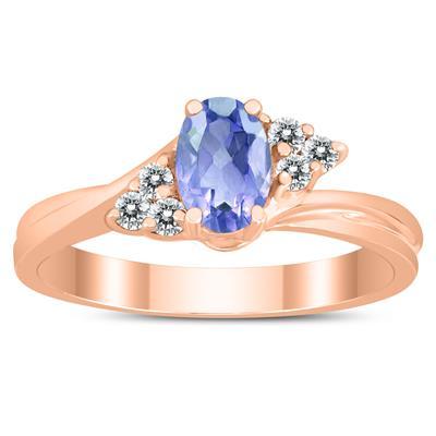 6X4MM Tanzanite and Diamond Twist Ring in 10K Rose Gold