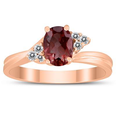 7X5MM Garnet and Diamond Twist Ring in 10K Rose Gold