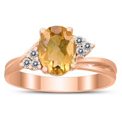 8X6MM Citrine and Diamond Twist Ring in 10K Rose Gold