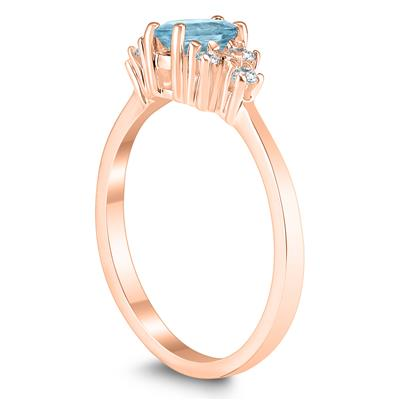 6X4MM Aquamarine and Diamond Regal Ring in 10K Rose Gold