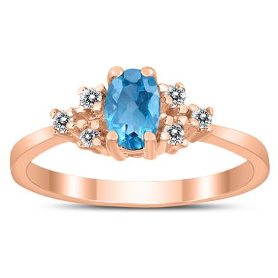 6X4MM Blue Topaz and Diamond Regal Ring in 10K Rose Gold