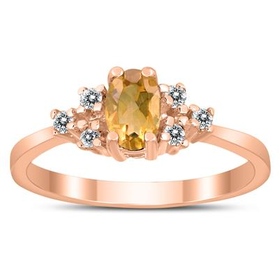 6X4MM Citrine and Diamond Regal Ring in 10K Rose Gold