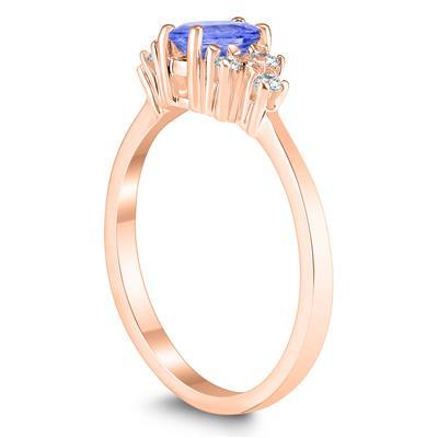6X4MM Tanzanite and Diamond Regal Ring in 10K Rose Gold