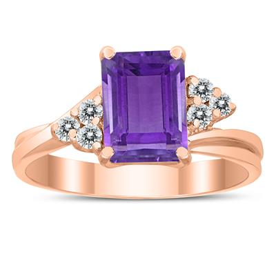 8X6MM Amethyst and Diamond Twist Ring in 10K Rose Gold