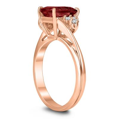 8X6MM Garnet and Diamond Twist Ring in 10K Rose Gold