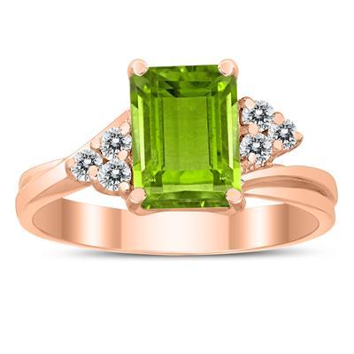 8X6MM Peridot and Diamond Twist Ring in 10K Rose Gold