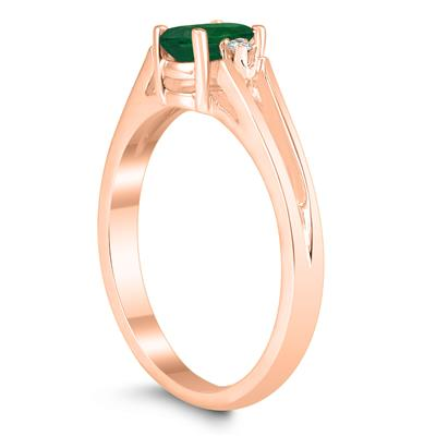 6X4MM Emerald and Diamond Open Three Stone Ring in 10K Rose Gold