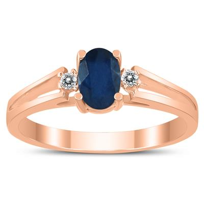 6X4MM Sapphire and Diamond Open Three Stone Ring in 10K Rose Gold