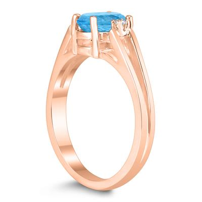 7X5MM Blue Topaz and Diamond Open Three Stone Ring in 10K Rose Gold