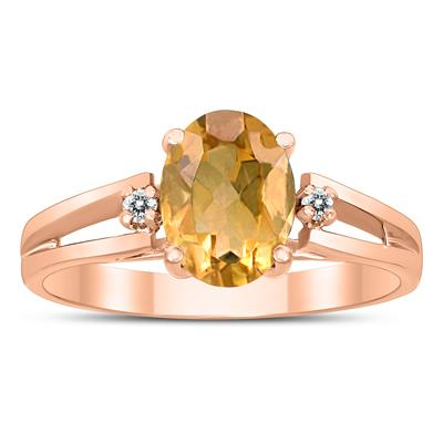 8X6MM Citrine and Diamond Open Three Stone Ring in 10K Rose Gold