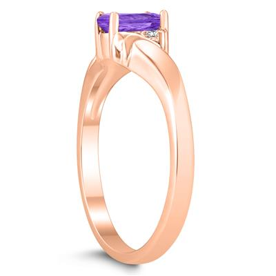 6X4MM Amethyst and Diamond Wave Ring in 10K Rose Gold