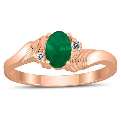 6X4MM Emerald and Diamond Wave Ring in 10K Rose Gold