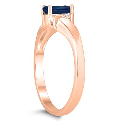 6X4MM Sapphire and Diamond Wave Ring in 10K Rose Gold
