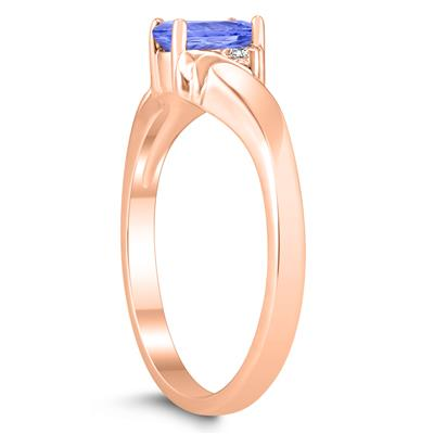 6X4MM Tanzanite and Diamond Wave Ring in 10K Rose Gold
