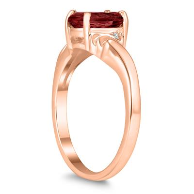 8X6MM Garnet and Diamond Wave Ring in 10K Rose Gold