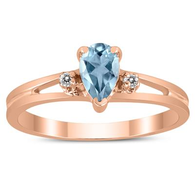 6X4MM Aquamarine and Diamond Pear Shaped Open Three Stone Ring in 10K Rose Gold