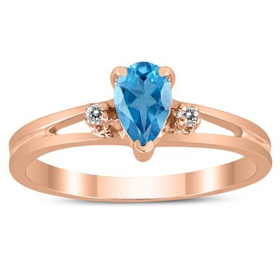 6X4MM Blue Topaz and Diamond Pear Shaped Open Three Stone Ring in 10K Rose Gold