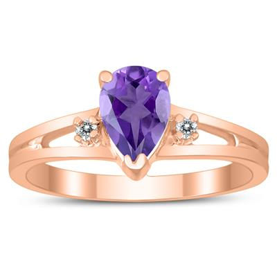 7X5MM Amethyst and Diamond Pear Shaped Open Three Stone Ring in 10K Rose Gold