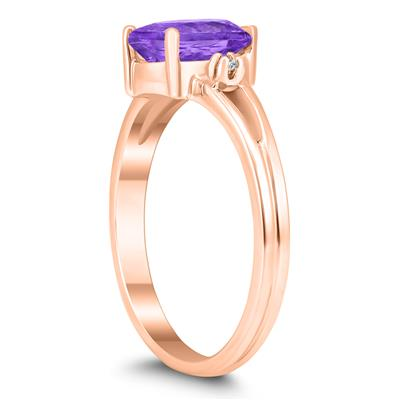 8X6MM Amethyst and Diamond Pear Shaped Open Three Stone Ring in 10K Rose Gold