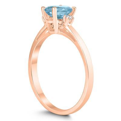 Emerald Cut 6X4MM Aquamarine and Diamond Three Stone Ring in 10K Rose Gold