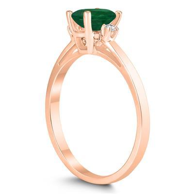 Emerald Cut 6X4MM Emerald and Diamond Three Stone Ring in 10K Rose Gold