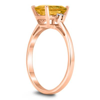 Emerald Cut 8X6MM Citrine and Diamond Three Stone Ring in 10K Rose Gold