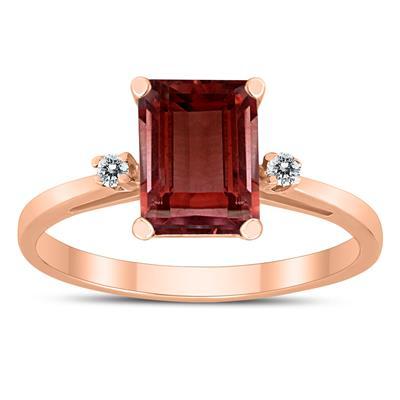 Emerald Cut 8X6MM Garnet and Diamond Three Stone Ring in 10K Rose Gold