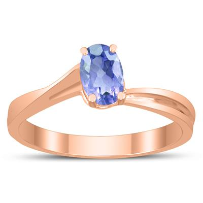 Solitaire Oval 6X4MM Tanzanite Gemstone Twist Ring in 10K Rose Gold