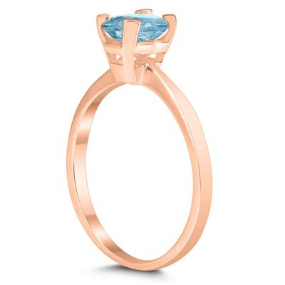 Emerald Shaped 6X4MM Aquamarine Solitaire Ring in 10K Rose Gold