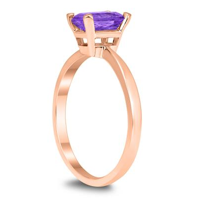 Emerald Shaped 7X5MM Amethyst Solitaire Ring in 10K Rose Gold