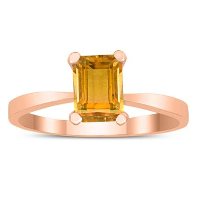 Emerald Shaped 7X5MM Citrine Solitaire Ring in 10K Rose Gold