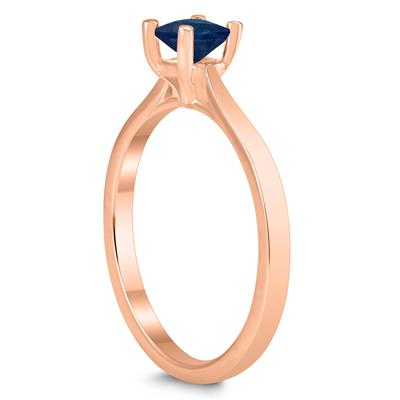 Square Princess Cut 4MM Sapphire Solitaire Ring in 10K Rose Gold