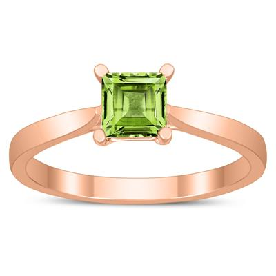 Square Princess Cut 5MM Peridot Solitaire Ring in 10K Rose Gold
