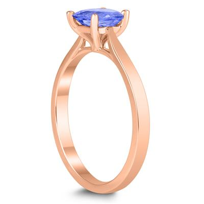 Square Princess Cut 5MM Tanzanite Solitaire Ring in 10K Rose Gold