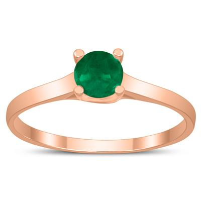 Round 4MM Emerald Cathedral Solitaire Ring in 10K Rose Gold
