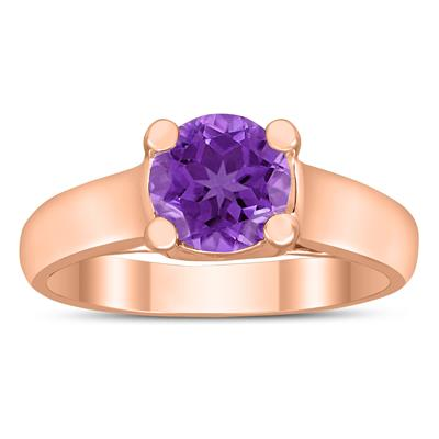 Round 7MM Amethyst Cathedral Solitaire Ring in 10K Rose Gold